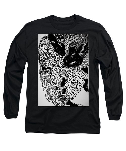 Long Sleeve T-Shirt featuring the drawing Dinka Dance - South Sudan by Gloria Ssali