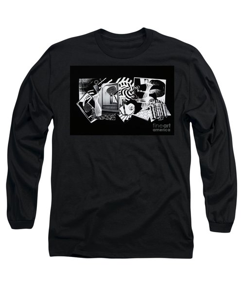 Long Sleeve T-Shirt featuring the mixed media 2d Elements In Black And White by Xueling Zou