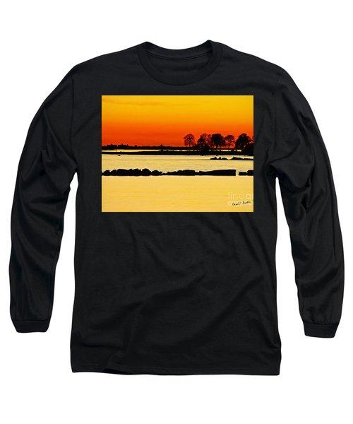 Ocean Beach Sunset Long Sleeve T-Shirt by Carol F Austin