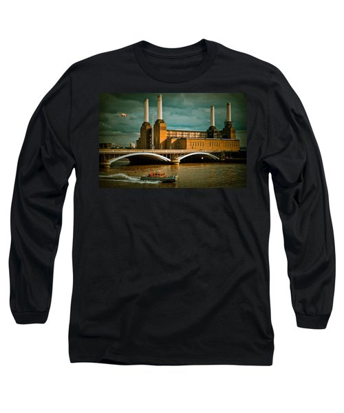 Pink Floyd Pig At Battersea Long Sleeve T-Shirt by Dawn OConnor