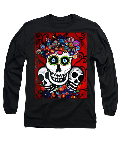 Long Sleeve T-Shirt featuring the painting 3 Skulls by Pristine Cartera Turkus