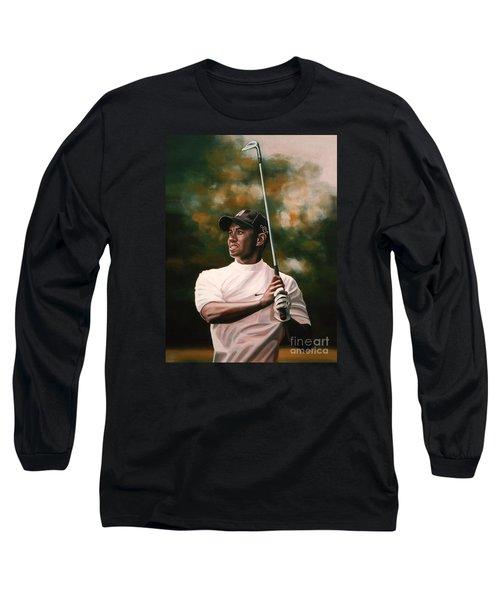 Tiger Woods  Long Sleeve T-Shirt by Paul Meijering