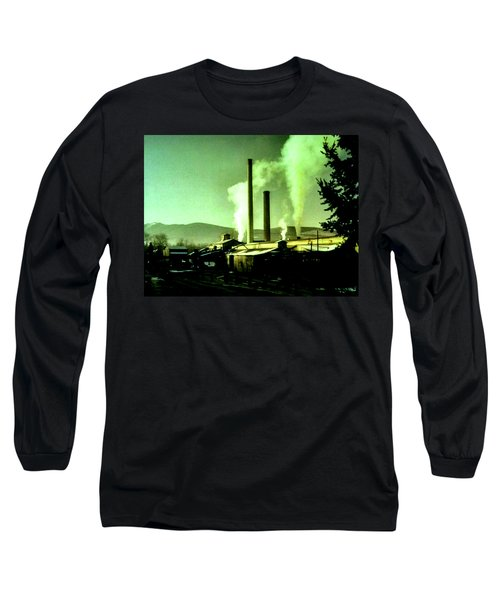 Long Sleeve T-Shirt featuring the painting Twin Peaks by Luis Ludzska