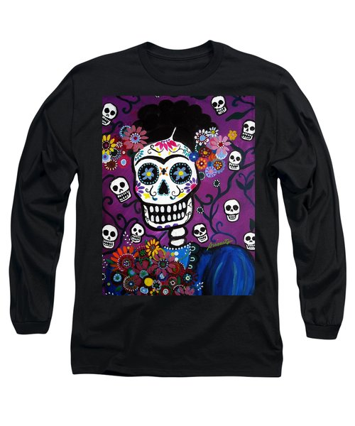 Long Sleeve T-Shirt featuring the painting Frida Dia De Los Muertos by Pristine Cartera Turkus