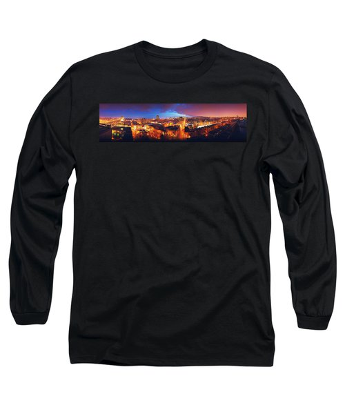 High Angle View Of A City Lit Long Sleeve T-Shirt