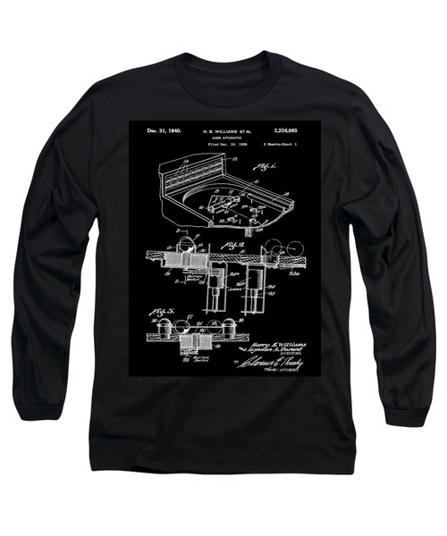 Pinball Machine Patent 1939 - Black Long Sleeve T-Shirt by Stephen Younts