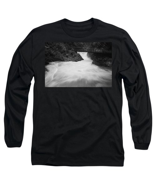 The Soteska Vintgar Gorge In Black And White Long Sleeve T-Shirt