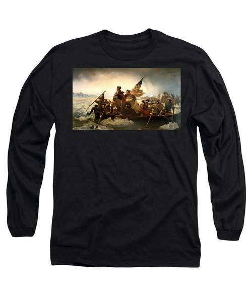 Washington Crossing The Delaware Long Sleeve T-Shirt by Emanuel Leutze