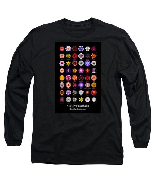 48 Flower Mandalas Long Sleeve T-Shirt by David J Bookbinder