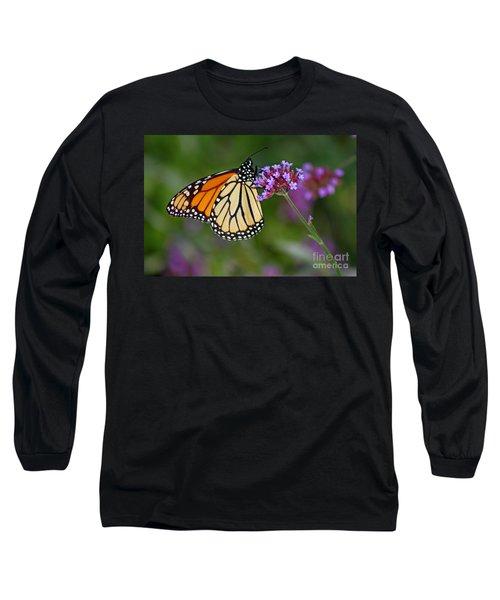 Monarch Butterfly In Garden Long Sleeve T-Shirt