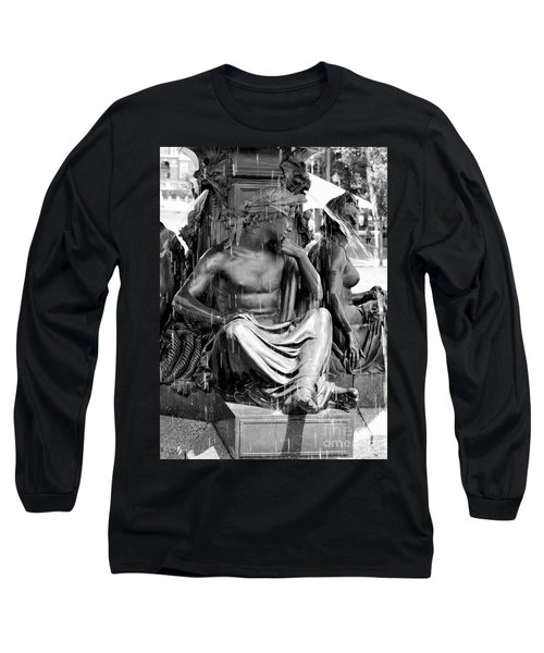 Brewer Fountain Boston Ma Black And White Long Sleeve T-Shirt