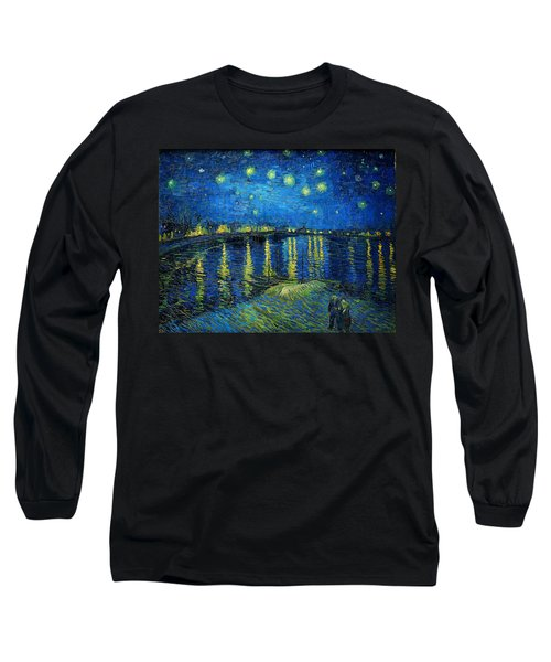 Starry Night Over The Rhone Long Sleeve T-Shirt by Vincent van Gogh