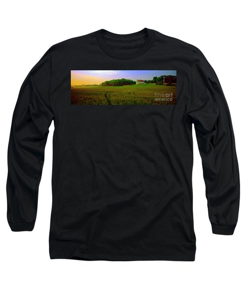 Long Sleeve T-Shirt featuring the photograph  Conley Rd Spring Pasture Oaks And Barn  by Tom Jelen