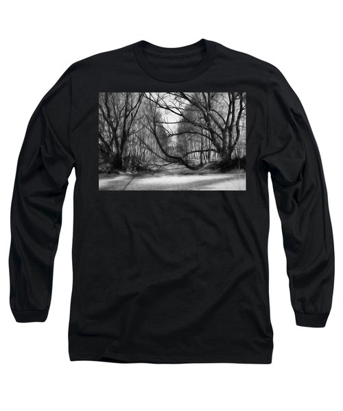 Long Sleeve T-Shirt featuring the photograph 9 Black And White Artistic Painterly Icy Entrance Blocked By Braches by Leif Sohlman