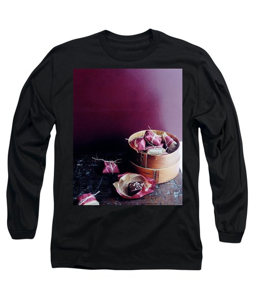 A Bamboo Steamer With Paper Packages Long Sleeve T-Shirt