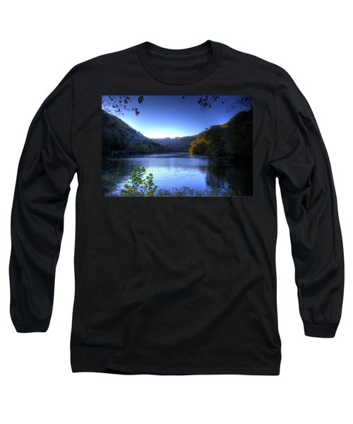 A Blue Lake In The Woods Long Sleeve T-Shirt by Jonny D