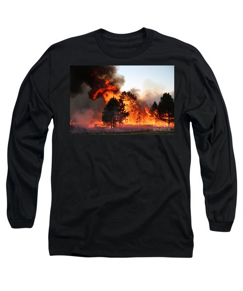 A Burst Of Flames From The White Draw Fire Long Sleeve T-Shirt