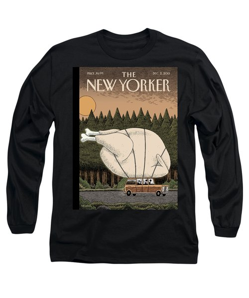 A Family Rides Home With A Giant Turkey Tied Long Sleeve T-Shirt