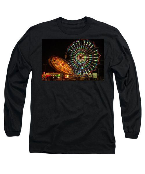 Long Sleeve T-Shirt featuring the photograph Colorful Carnival Ferris Wheel Ride At Night by Jerry Cowart