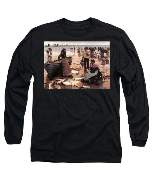 A Fish Sale On A Cornish Beach Long Sleeve T-Shirt