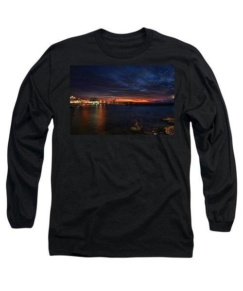 Long Sleeve T-Shirt featuring the photograph a flaming sunset at Tel Aviv port by Ron Shoshani