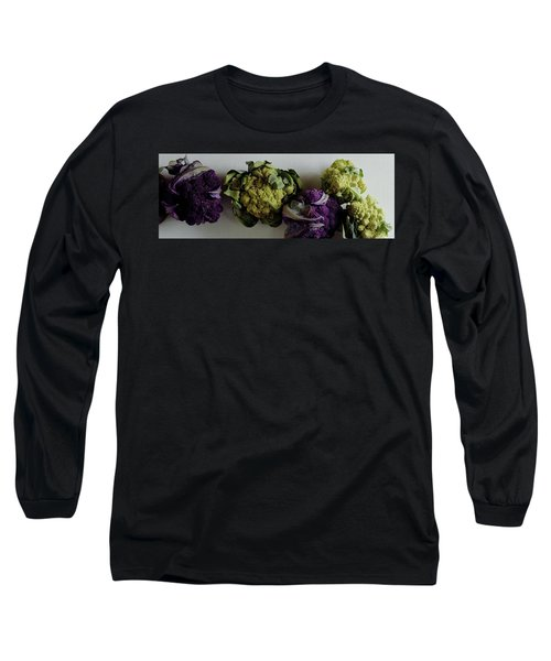 A Group Of Cauliflower Heads Long Sleeve T-Shirt by Romulo Yanes