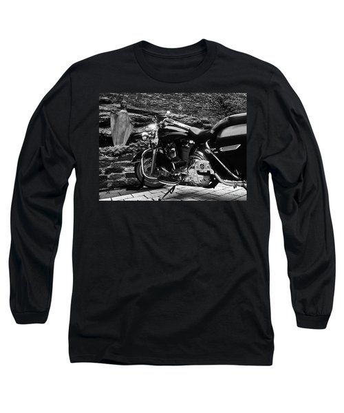 A Harley Davidson And The Virgin Mary Long Sleeve T-Shirt by Andy Prendy