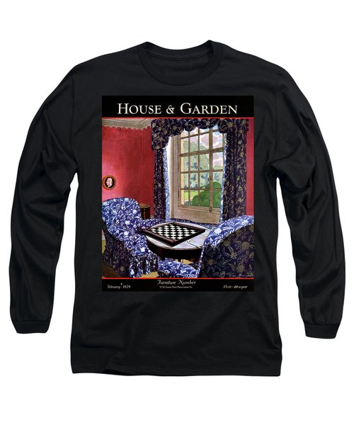 A House And Garden Cover Of A Country Living Room Long Sleeve T-Shirt