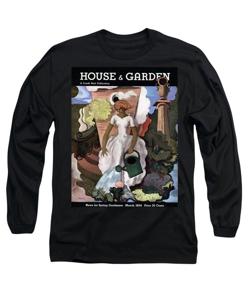 A House And Garden Cover Of A Woman Watering Long Sleeve T-Shirt