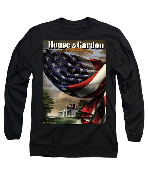 A House And Garden Cover Of An American Flag Long Sleeve T-Shirt