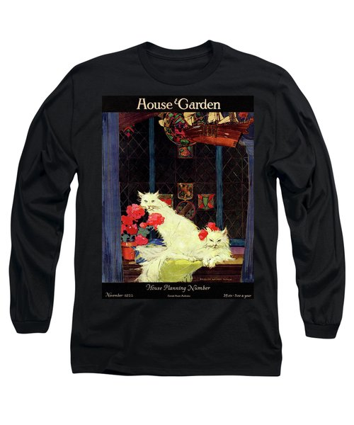 A House And Garden Cover Of White Cats Long Sleeve T-Shirt