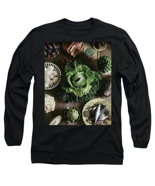 A Mixed Variety Of Food And Ceramic Imitations Long Sleeve T-Shirt by Fotiades