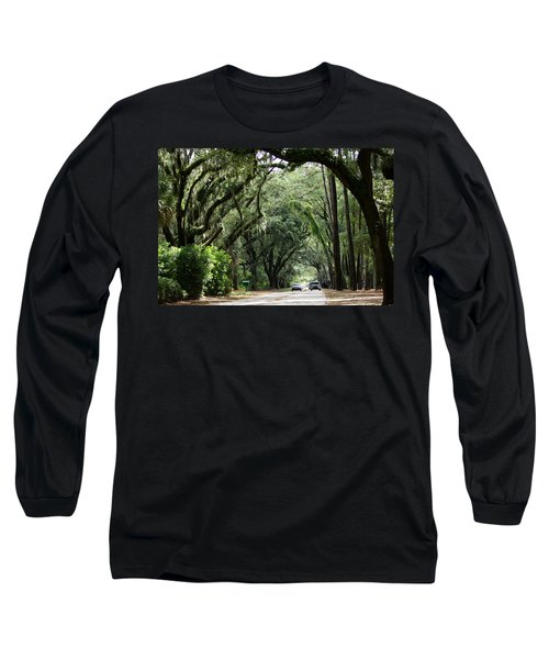 A Pretty Tree Covered Road Somewhere On Hilton Head Island Long Sleeve T-Shirt