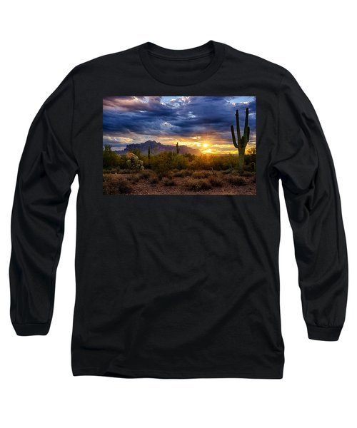 A Sonoran Desert Sunrise Long Sleeve T-Shirt by Saija  Lehtonen