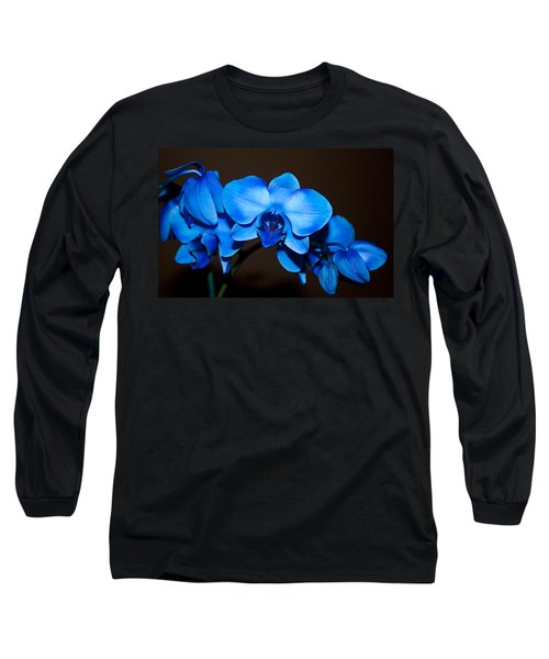 Long Sleeve T-Shirt featuring the photograph A Stem Of Beautiful Blue Orchids by Sherry Hallemeier