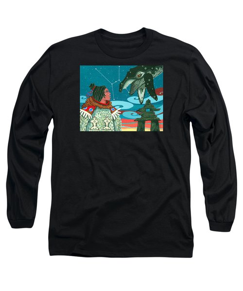 Long Sleeve T-Shirt featuring the painting A Study For Whale Dreamer by Chholing Taha