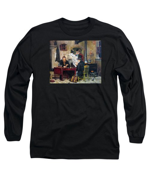 Long Sleeve T-Shirt featuring the painting A Study Of Waiting For The Stage by Donna Tucker