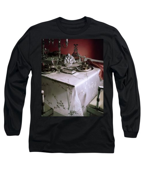 A Table Set With Delicate Tableware Long Sleeve T-Shirt