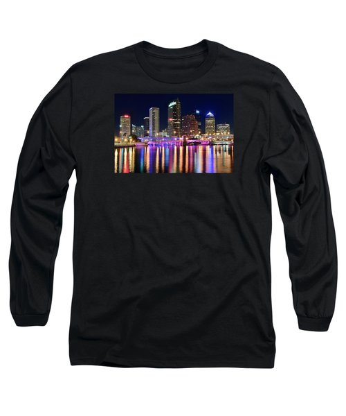 A Tampa Bay Night Long Sleeve T-Shirt by Frozen in Time Fine Art Photography