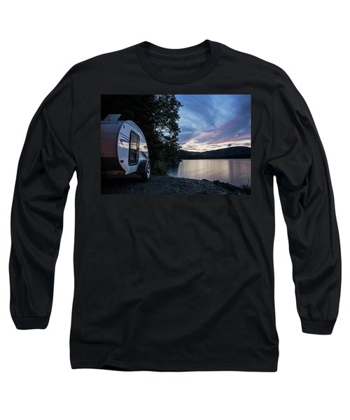 A Teardrop Camper Is Parked Next Long Sleeve T-Shirt