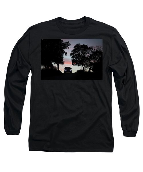 A Truck Drives At Sunset In A Dirt Road Long Sleeve T-Shirt