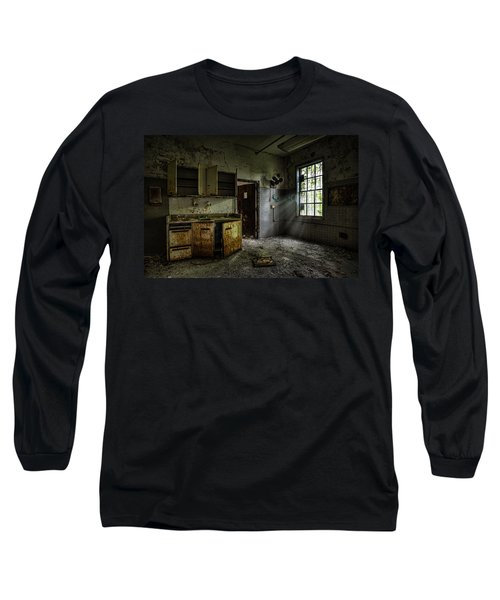 Long Sleeve T-Shirt featuring the photograph Abandoned Building - Old Asylum - Open Cabinet Doors by Gary Heller