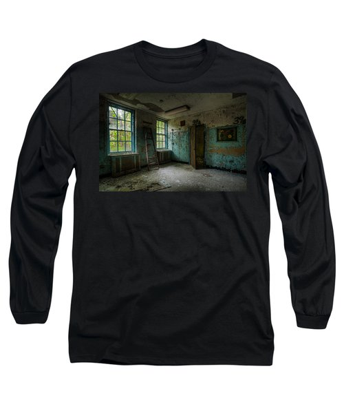 Long Sleeve T-Shirt featuring the photograph Abandoned Places - Asylum - Old Windows - Waiting Room by Gary Heller