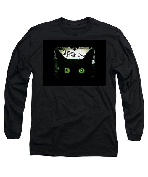 Absinthe Black Cat Long Sleeve T-Shirt by Absinthe Art By Michelle LeAnn Scott