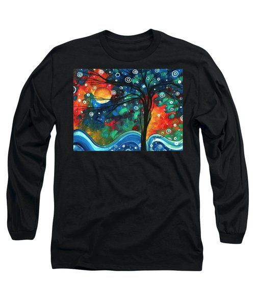 Abstract Art Original Landscape Colorful Painting First Snow Fall By Madart Long Sleeve T-Shirt
