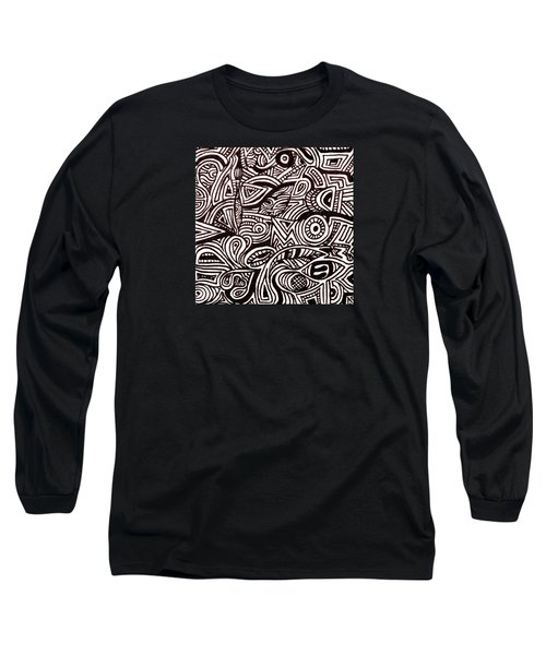 Abstract Black And White Ink Line Drawing Long Sleeve T-Shirt by Jean Haynes