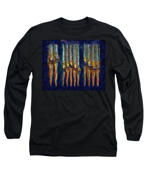 Abstract Blue And Gold Organ Pipes Long Sleeve T-Shirt