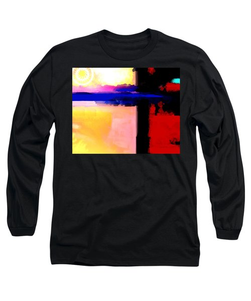 Long Sleeve T-Shirt featuring the painting Abstract Impressions Of A Blue Horizon by Karon Melillo DeVega