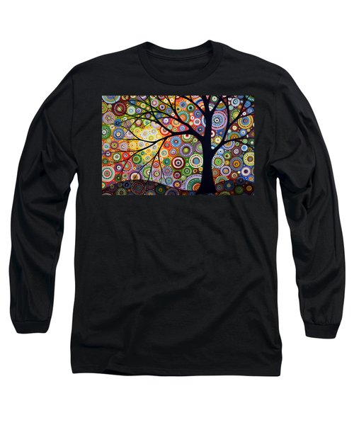Long Sleeve T-Shirt featuring the painting Abstract Original Modern Tree Landscape Visons Of Night By Amy Giacomelli by Amy Giacomelli