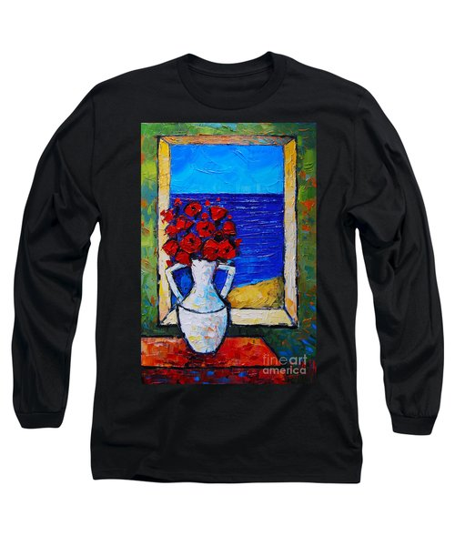Abstract Poppies By The Sea Long Sleeve T-Shirt